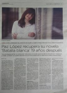 Paz López en diario Las noticias de Cuenca. Editorial Adarve