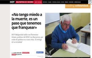 Gómez Martin en diario Hoy de Malpartida Cáceres. Editoriales de España, Adarve