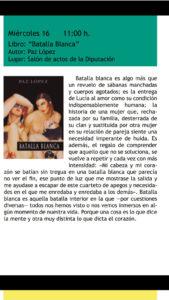 Foto anuncio Batalla blanca de Paz López en Feria del Libro Cuenca Lee. Editoriales de España