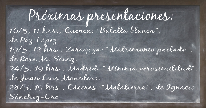 Pizarra de presentaciones Mayo. Editoriales de España