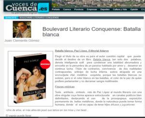 Artículo dedicado a la novela Batalla blanca de Paz López en periódico Voces de Cuenca. Editoriales actuales de España, Adarve