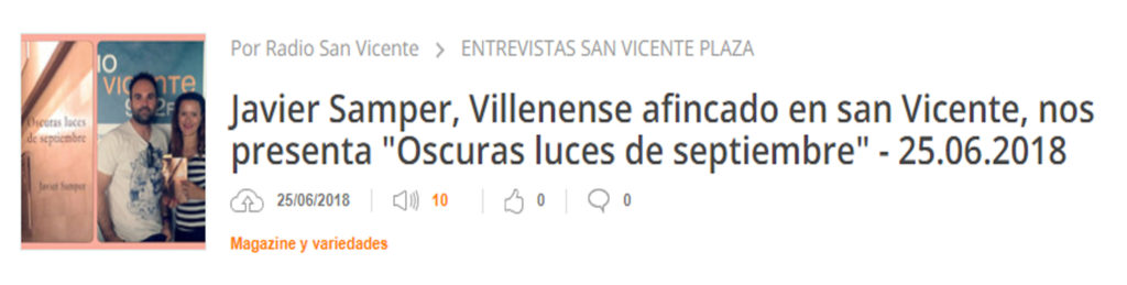 Podcast de Javier Samper en radio San Vicente. Editorial Adarve