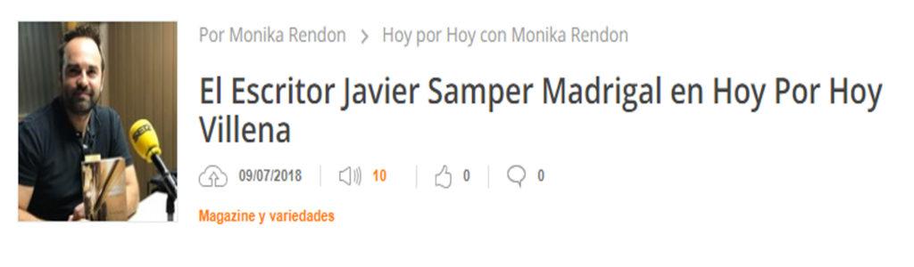 Javier Samper en programa Hoy por Hoy de Villena. Editoriales actuales de España