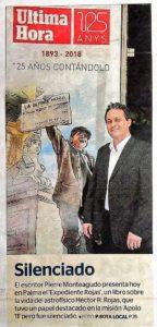 Nota de prensa diario última hora, Pierre Monteagudo. Editorial Adarve de España