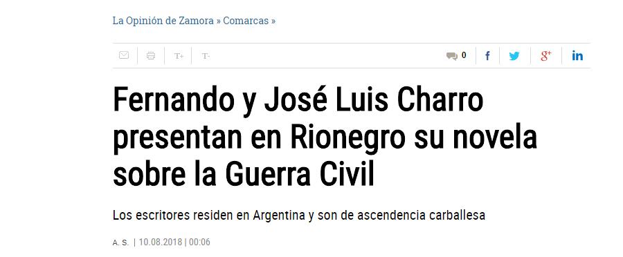 José Luis y Fernando Charro en diario La opinión de Zamora. Editoriales actuales de España, Editorial Adarve