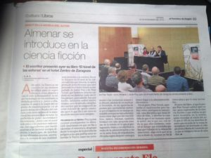 Artículo periodístico sobre Jesús Almenar Carcavilla y su libro El túnel de las Esferas. Editorial Adarve, Editoriales de España, Editorial Adarve de España
