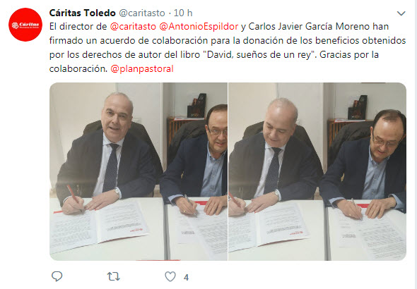 Carlos García Moreno firma acuerdo con Caritas de Toledo. Editorial Adarve, Editorial Adarve de España, Editoriales españolas, Editoriales españolas actuales, Editoriales de España, Editoriales actuales de España