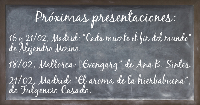 Pizarra de presentaciones febrero. Editorial Adarve, Editorial Adarve de España, Editoriales actuales de España, Editoriales españolas, Editoriales españolas actuales