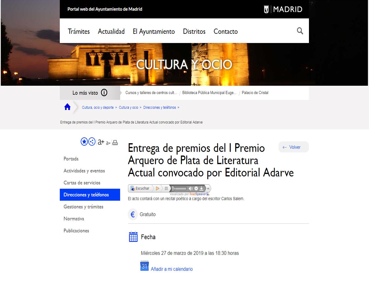 bf841c03e4ef El Ayuntamiento de Madrid anuncia I Premio Arquero de Plata de Editorial  Adarve