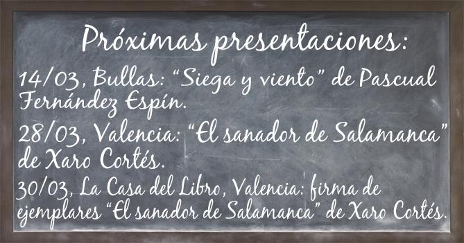Pizarra de presentaciones Marzo 2019. Editorial Adarve, Editoriales actuales de España