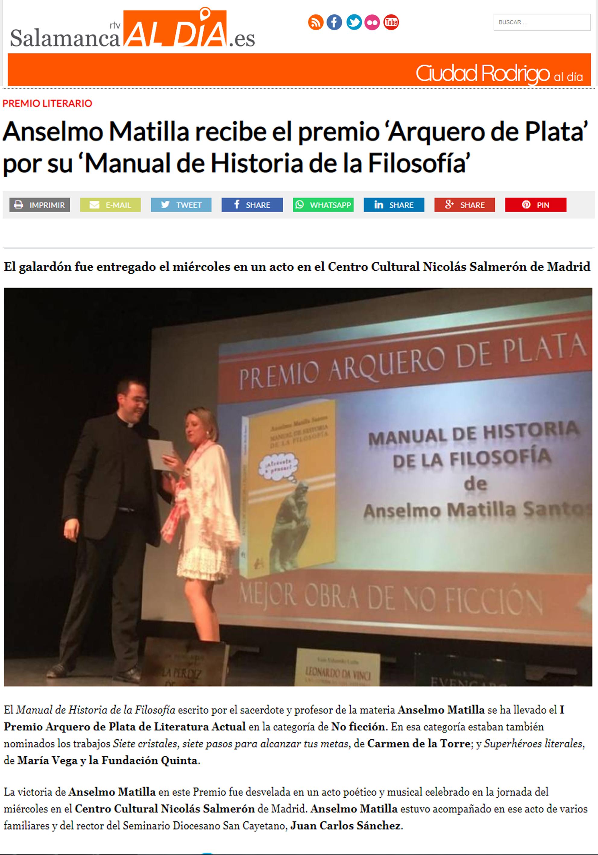 Anselmo Matilla Santos en Salamanca RTV. Editorial Adarve, Editoriales de España