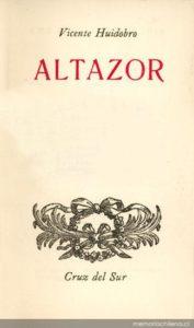 Portada del poemario Altazor de Vicente Huidobro. Editorial Adarve, Editoriales actuales de España