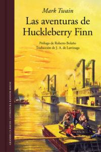 Portada del libro Las aventuras de Huckleberry Fiin de Mark Twain. Editorial Adarve, Editoriales actuales de España