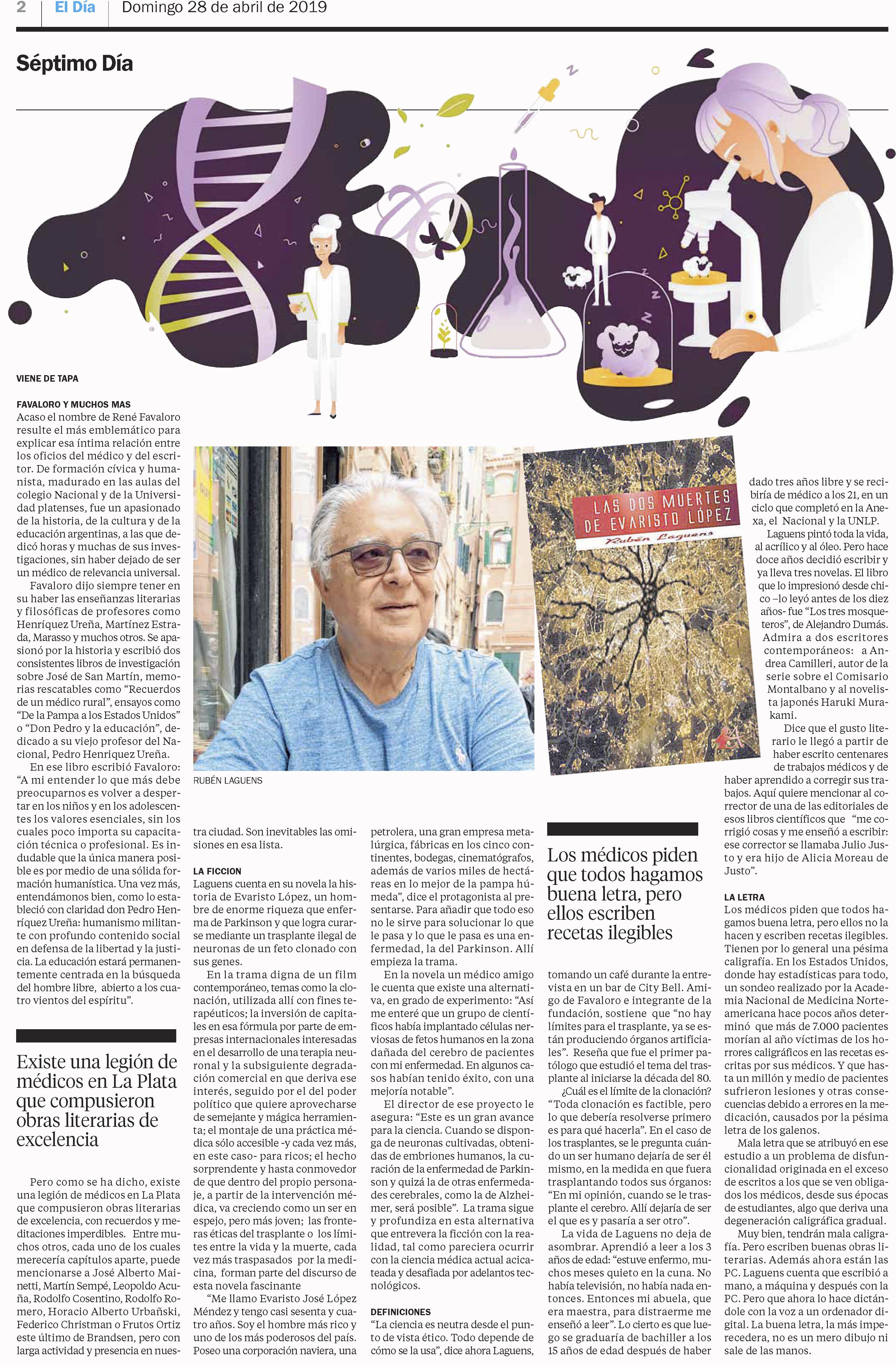 Artículo en diario El día de la Plata Ruben Laguens Las dos muertes de Evaristo López. Editorial Adarve, Editoriales que aceptan manuscritos