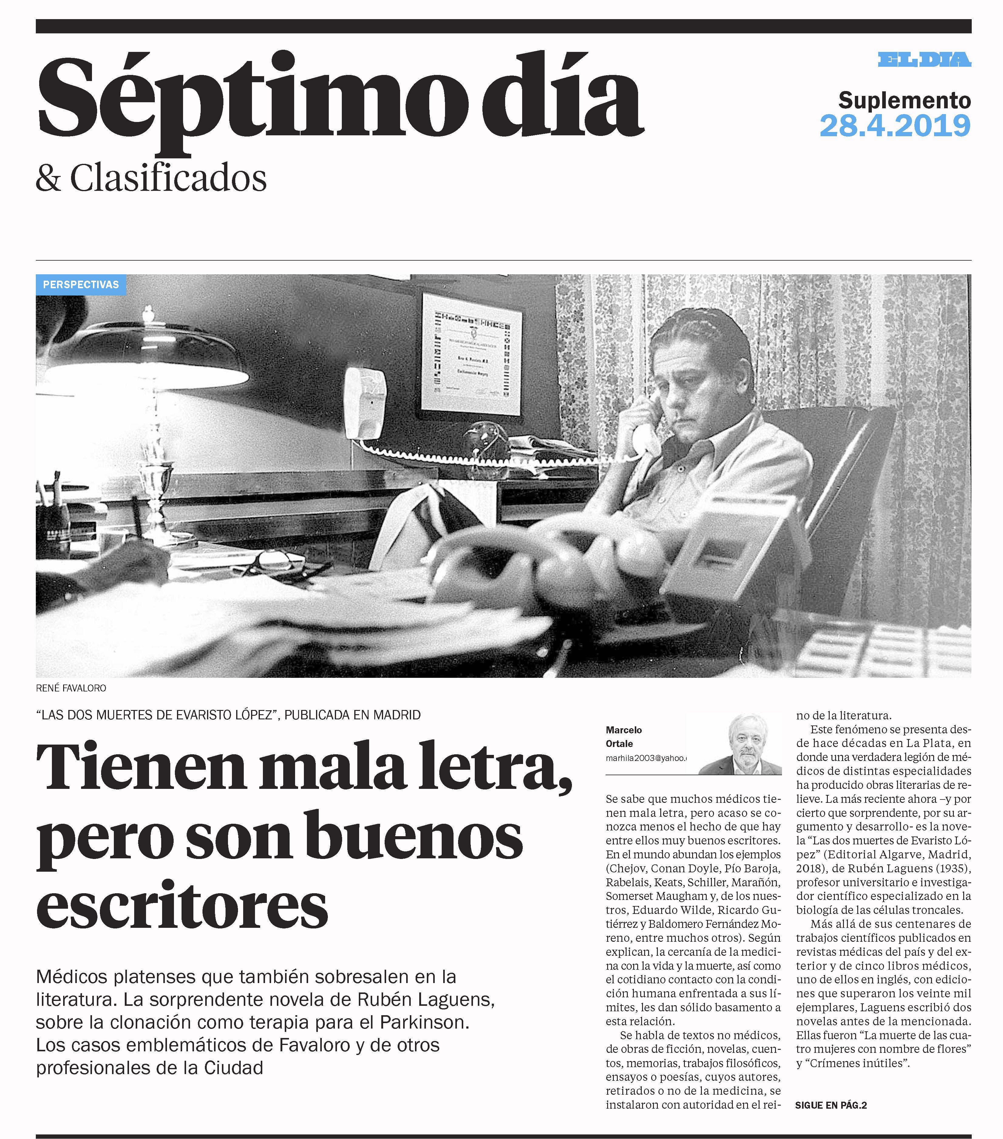 Artículo en diario El día de La Plata Las dos muertes de Evaristo López de Ruben Laguens. Editorial Adarve, Editoriales de España