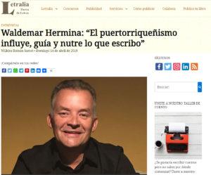 Waldemar Hermina en leteralia com por su novela Muchos años de espera. Editorial Adarve, editoriales de España