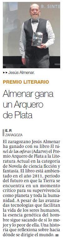 Jesús Almenar en El periódico de Aragón. Editorial Adarve, Editoriales que aceptan manuscritos