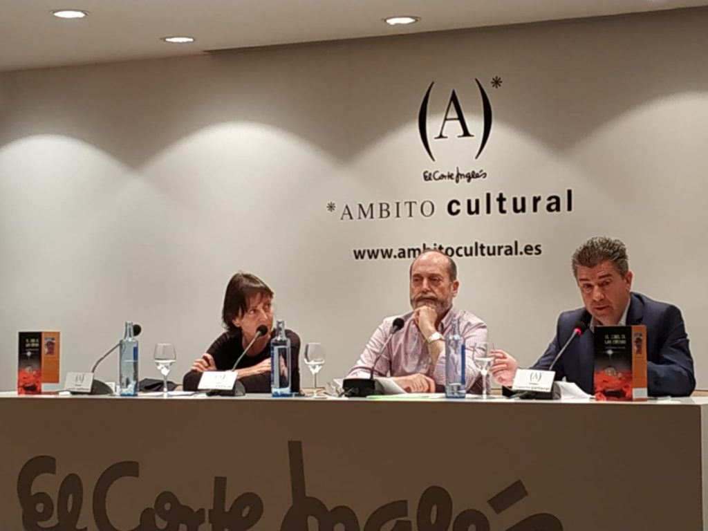 Pilar Teruel Jesús Almenar y Javier Puy en coloqio El túnel de las esferas. Editorial Adarve, Editoriales que aceptan manuscritos