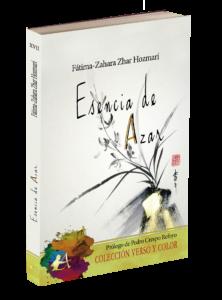 portada del libro Esencia de azar de Fátima Zhar. Editorial Adarve, Colección Verso y Color