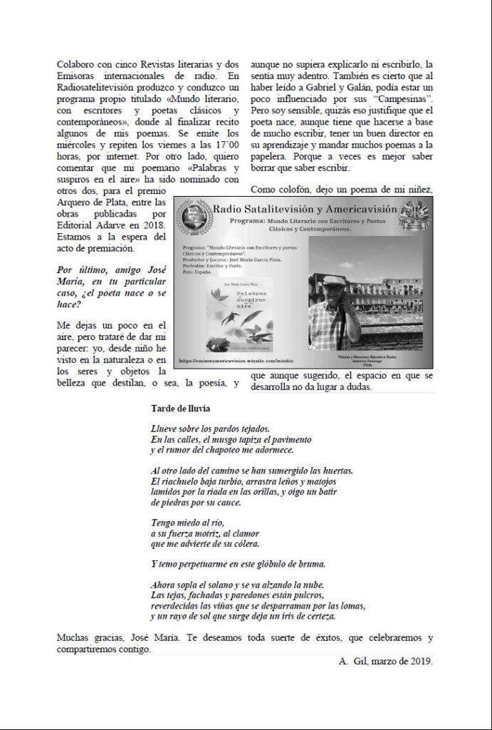 Entrevista en Revista Ahigal García Plata. Editorial Adarve, Editoriales españolas