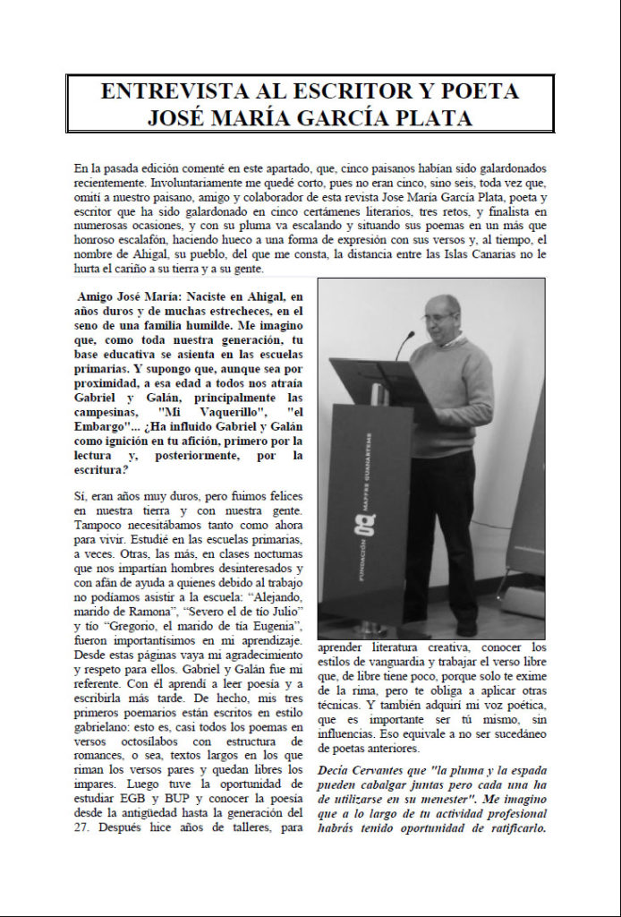 Entrevista José García Plata en Revista Ahigal. Editorial Adarve, Editoriales de España