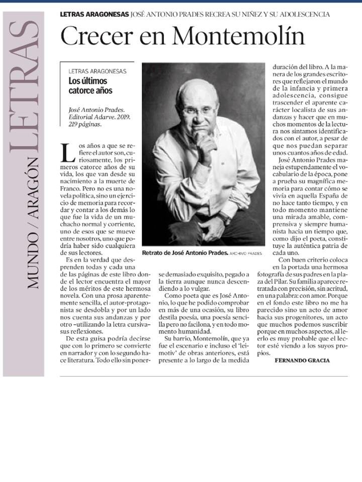 Reseña del libro Los últimos catorce años de José Antonio Prades en el Heraldo de Aragón. Editorial Adarve, Editoriales de España