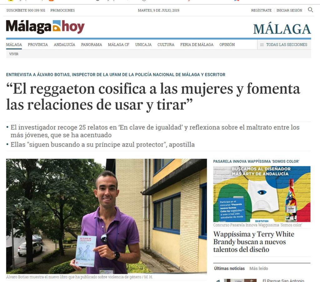 Entrevista a Álvaro Botias En clave de igualdad en Málaga Hoy. Editorial Adarve, Editoriales de España