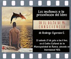 Cartel de presentación En el delta de mi consciencia Rodrigo Oyarzún. Editorial Adarve, Editoriales de España