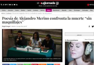 Artículo en La Jornada sobre Cada muerte el fin del mundo de Alejandro Merino. Editorial Adarve, Editoriales que aceptan manuscritos