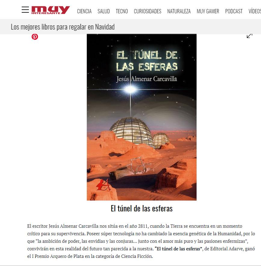 El túnel de las esferas en revista muy interesante. Editorial Adarve, Editoriales que promocionan a sus autores