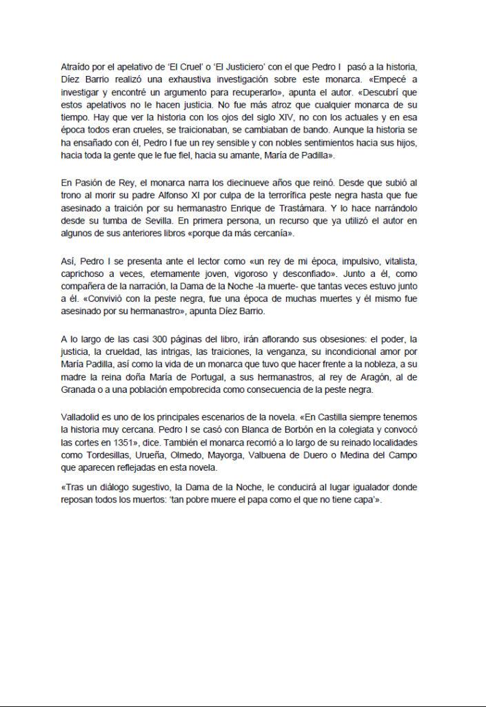 Artículo Diario Valladolid Pasión de rey Germán Díez. Editorial Adarve