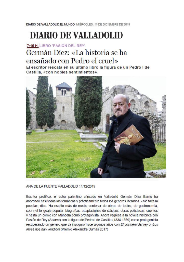 Artículo diario Valladolid Germán Díez Pasión de rey. Editorial Adarve, Editoriales de España