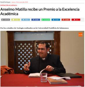 Anselmo Matilla Santos recibe premio a la excelencia académica. Editorial Adarve, Editoriales de España