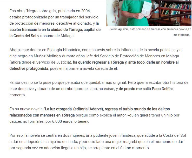 Jaime Aguilera La opinión de Málaga. Editorial Adarve