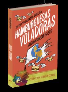 Portada del libro Hamburguesas voladoras. Editorial Adarve, colección Verso y color. Editoriales de ficción